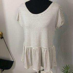 Black & white Stripe Peplum Drop waist Top Sz M